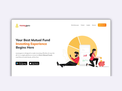 Home page for Moneyguru Mobile Application. design userinteraction fintech responsive 2danimation motiondesign illustration interactiondesign microanimation homepage ui