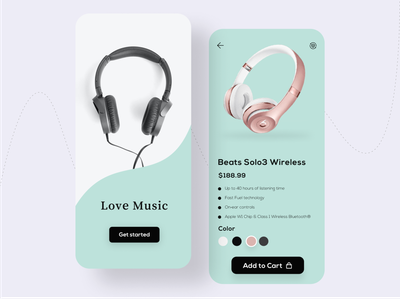 Headphone app UI music ux ui design app app design clean minimalist modern simple headphone ui design