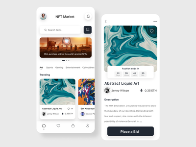 NFT Mobile App crypto bitcoin nft mobile app uiux ui design ux typography ui simple modern minimalist design clean app design app
