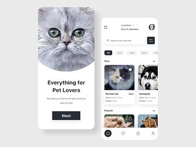 Pet Adoption App UI mobile app ui design ux minimal uiux mobile ui simple modern design clean app design app pet store cat pet adoption petshop pet care pet pet app