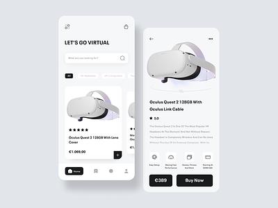 VR Store Mobile App virtual app vr app ui design simple minimal mobile modern clean app design app design uidesign mobile app design ui mobile app mobile design mobile ui virtualreality vr