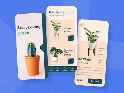 Plant Shop Mobile App UI minimal ui design mobile app gardening app gardening plant plant app mobile app mobile app design planting plant guide plants green app plant shop plant store
