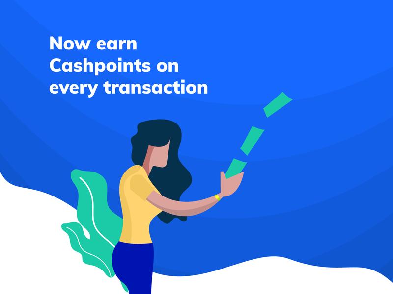 Illustration for payment app landing gradient girl money cash transaction vector popular blue payment newsletter app illustration design