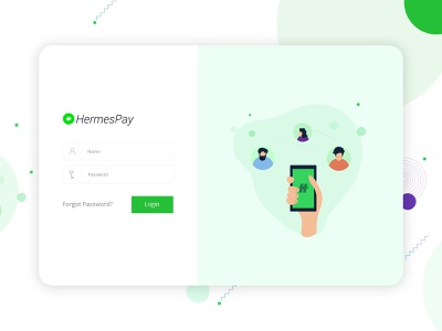 Login screen for payment app android nodejs react webapp white clean illustration green trending login form login page login web vector app ux ui design