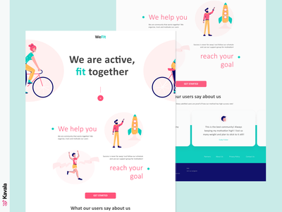Fitness landing page fitness website daily ui fitness pink dailyui web design landing page homepage ui uiux ui design kavala illustrations illustration figma