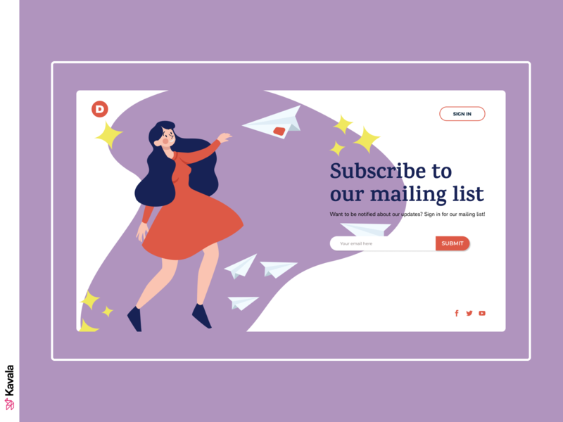 Subscription page daily ui purple subscribe form subscription subscribers subscribe dailyui web design landing page ui uiux ui design kavala illustrations illustration figma