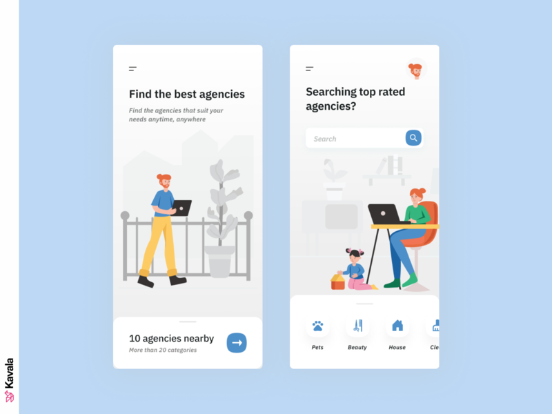 Agency app mobile app design agency app app design app mobile app mobile daily ui dailyui ui uiux ui design kavala illustrations illustration figma