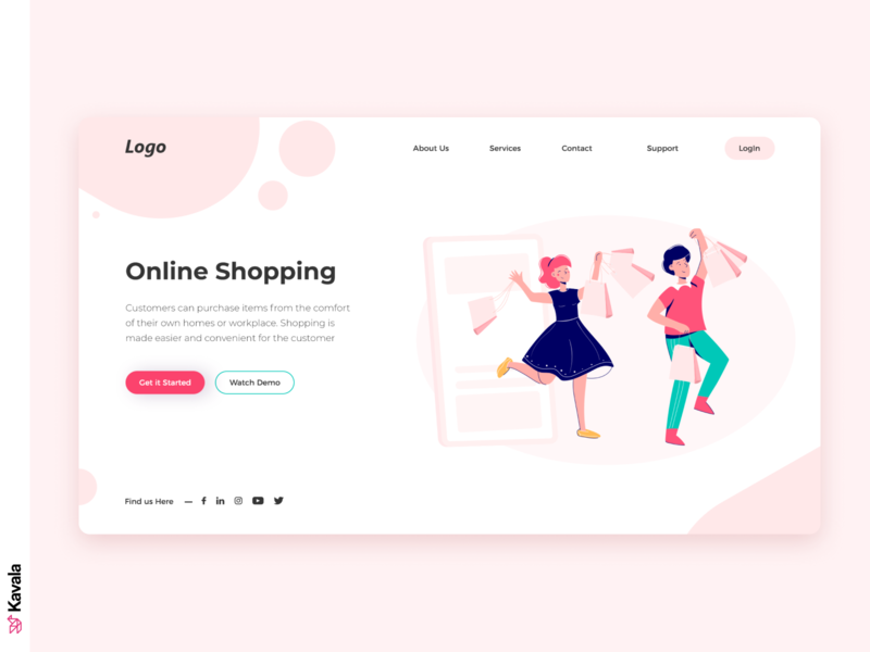 Shopping Website shopping website pink dailyui daily ui web design homepage landing page ui uiux ui design kavala illustrations illustration figma