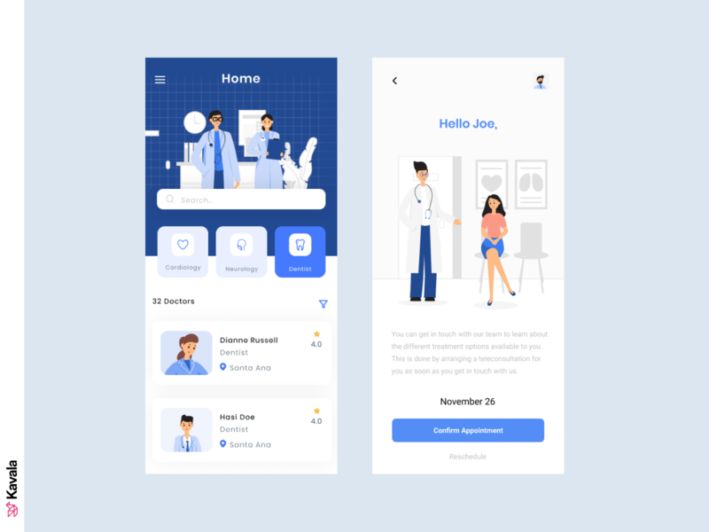 Medical app blue coronavirus corona medical app app app design mobile mobile ui ui uiux ui design kavala illustrations illustration figma