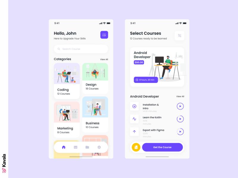 E-learning app learning app e-learning app app design mobile mobile ui ui uiux ui design kavala illustrations illustration figma