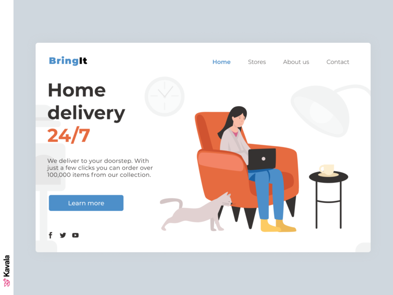 Home delivery website website concept home delivery daily ui dailyui web design homepage landing page ui uiux ui design kavala illustrations illustration figma