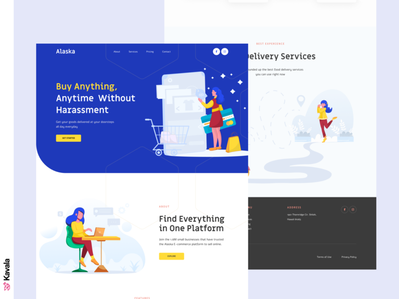 E-commerce landing page delivery shopping e-commerce blue daily ui dailyui ui web design homepage landing page uiux ui design kavala illustrations illustration figma