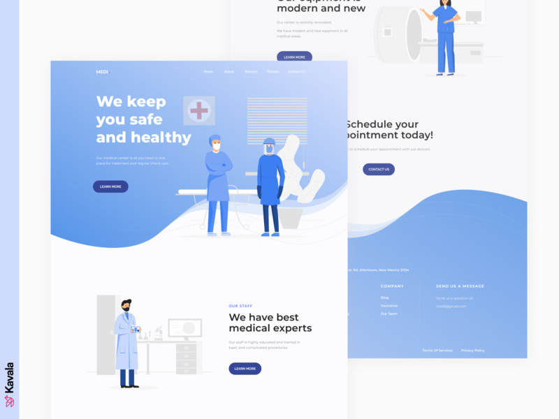 Medical website covid-19 covid19 coronavirus corona medical website medical blue dailyui homepage landing page ui uiux ui design kavala illustrations illustration figma