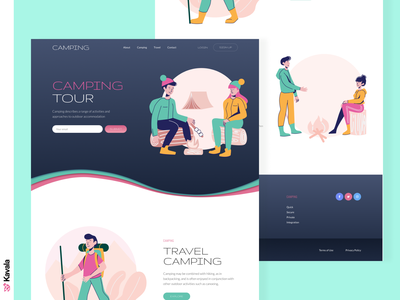 Camping website contrast dark bright camp camping daily ui challenge daily ui dailyui homepage landing page ui uiux ui design kavala illustrations illustration figma