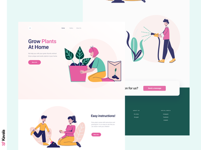 Plants landing page green plants daily ui homepage landing page dailyui ui uiux ui design kavala illustrations illustration figma