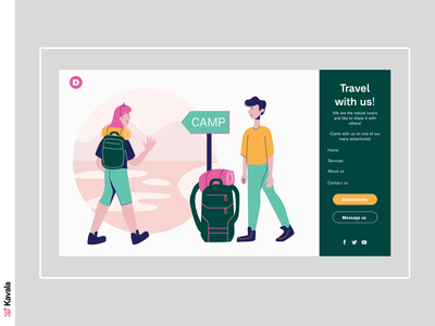 Travel website camp hiking travel daily ui homepage landing page dailyui ui uiux ui design kavala illustrations illustration figma