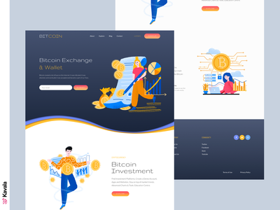 Bitcoin landing page crypto currency cryptocurrency bitcoin daily ui homepage landing page dailyui ui uiux ui design kavala illustrations illustration figma