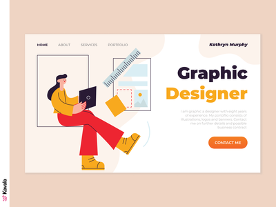 Graphic Designer website portfolio graphic designer daily ui homepage landing page dailyui ui uiux ui design kavala illustrations illustration figma