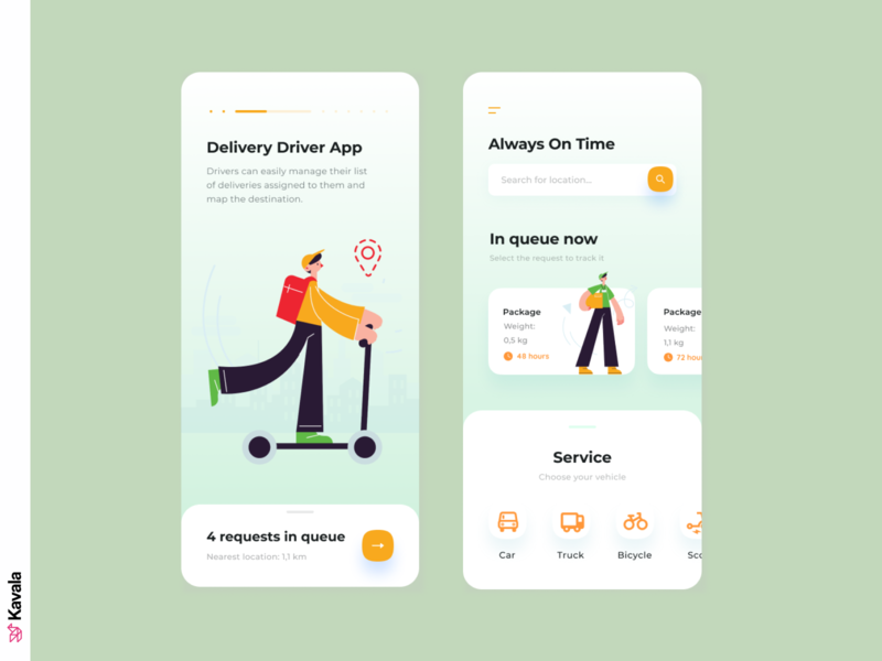 Driver delivery app app design delivery mobile ui app ui uiux ui design kavala illustrations illustration figma