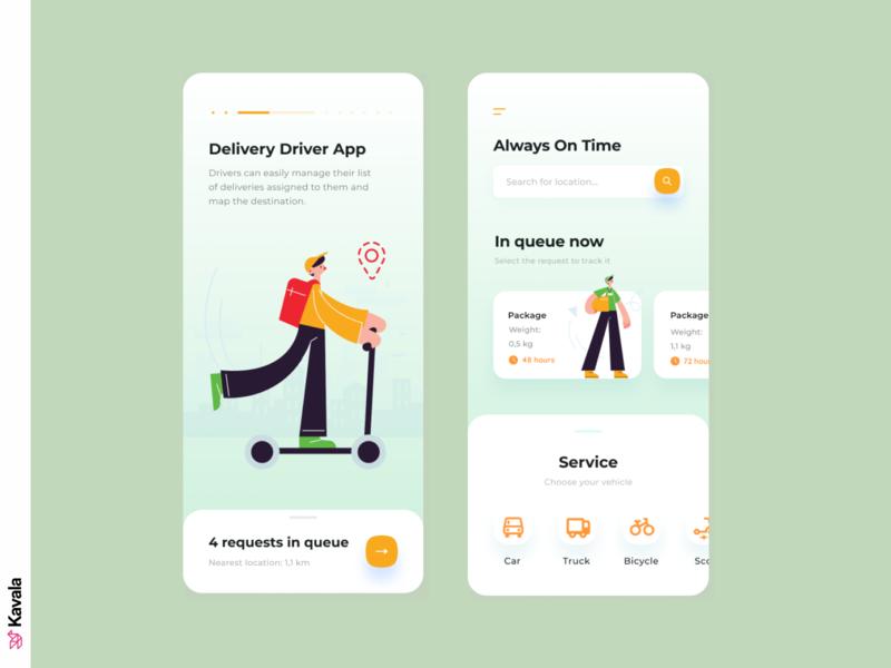 Driver delivery app app design delivery mobile ui app ui uiux ui design kavala illustrations illustration figma