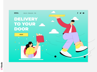 Delivery website home delivery delivery app daily ui challenge homepage landing page dailyui ui uiux ui design kavala illustrations illustration figma
