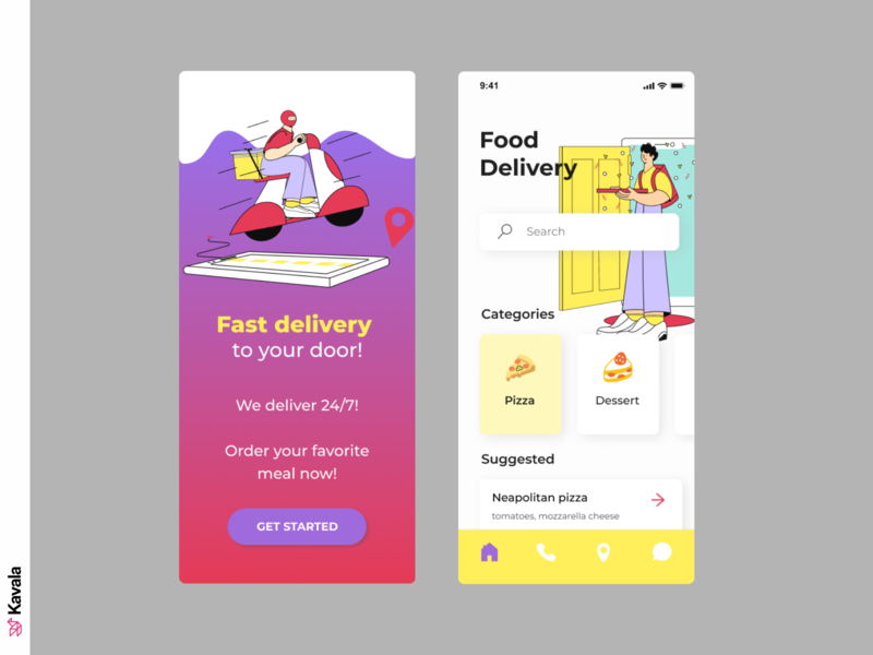 Delivery app illustrations/ui app design delivery mobile ui delivery app app ui uiux ui design kavala illustrations illustration figma