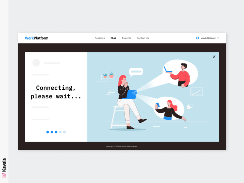 Work platform website video call working homepage design communication platform call platform work homepage landing page ui uiux ui design kavala illustrations illustration figma