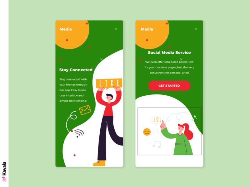 Social media app green social media app mobile ui app design app dailyui ui uiux ui design kavala illustrations illustration figma