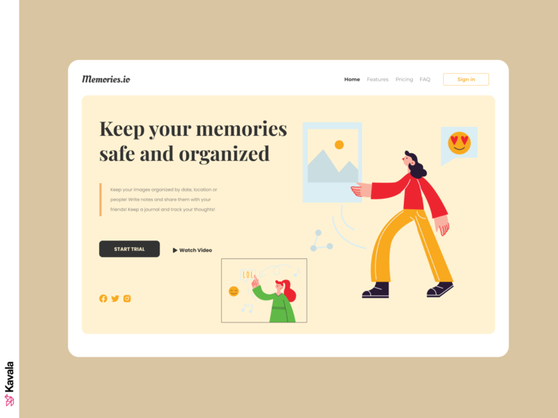 Memories app website homepage landing page dailyui ui uiux ui design kavala illustrations illustration figma