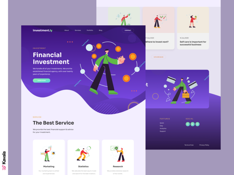 Investment landing page financial advisor finances finance investment homepage landing page dailyui ui uiux ui design kavala illustrations illustration figma