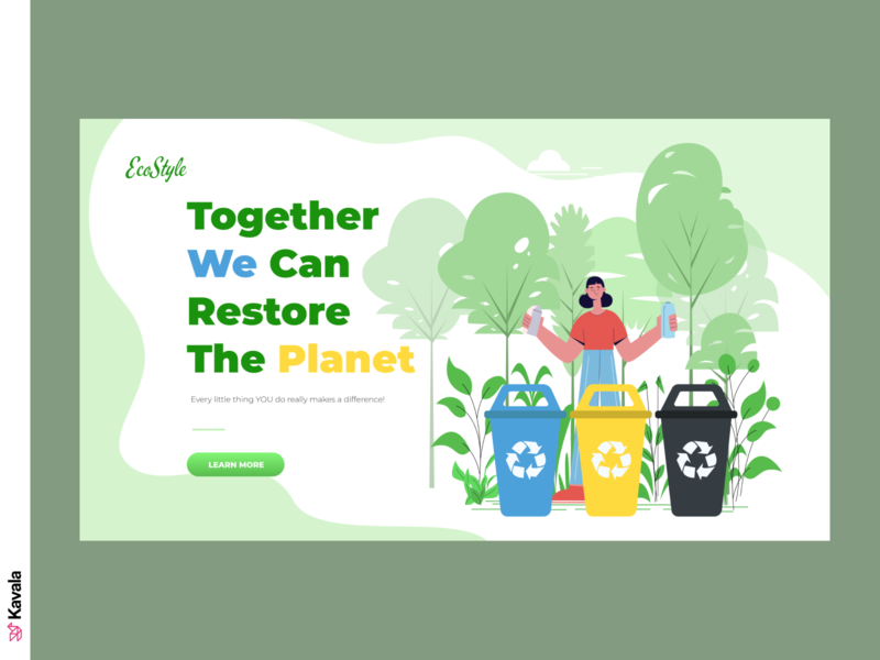 Eco Style website environment eco green energy green recycling enviroment homepage landing page dailyui ui uiux ui design kavala illustrations illustration figma