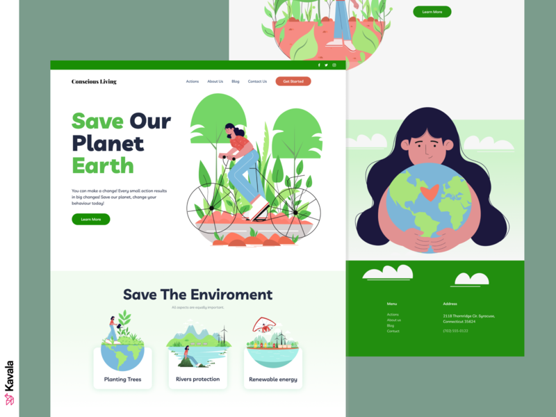 Environment landing page green environmental renewable energy recycle green energy environment homepage landing page ui uiux ui design kavala illustrations illustration figma