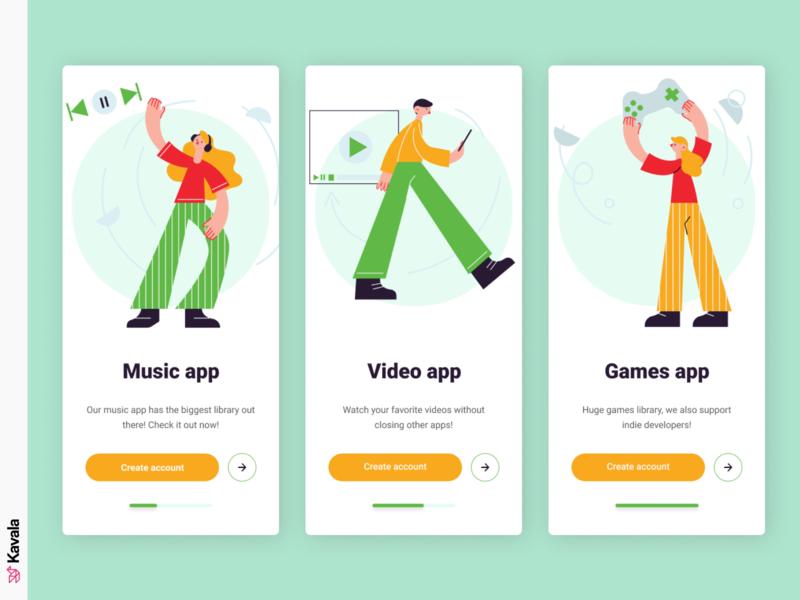 Splash screens app design application splash screens mobile ui app ui uiux ui design kavala illustrations illustration figma