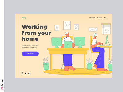 Working From Home website home office working from home work from home homepage landing page dailyui ui uiux ui design kavala illustrations illustration figma