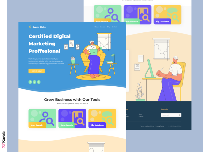 Digital marketing landing page digital marketing agency digital marketing landing page concept homepage landing page ui uiux ui design kavala illustrations illustration figma