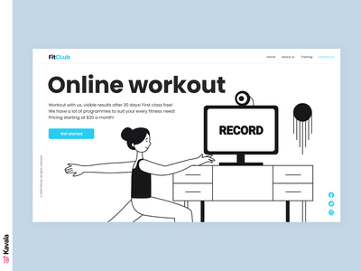 Online workout website yoga workout app workout online workout ui uiux ui design kavala illustrations illustration figma