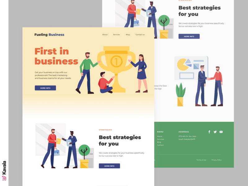 Business landing page business strategy business homepage landing page dailyui ui uiux ui design kavala illustrations illustration figma