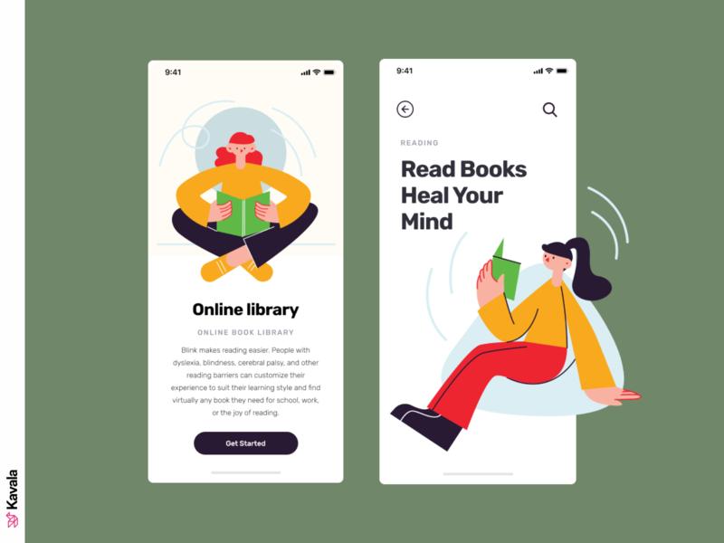 Reading app reading reading app app design app mobile app mobile ui dailyui ui uiux ui design kavala illustrations illustration figma