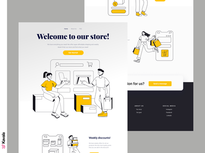 Shopping landing page shop e-commerce shopping app shopping homepage landing page dailyui ui uiux ui design kavala illustrations illustration figma