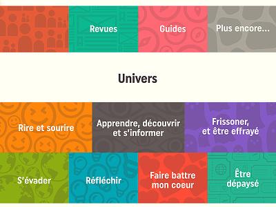 Design interface univers & catégories livres interface