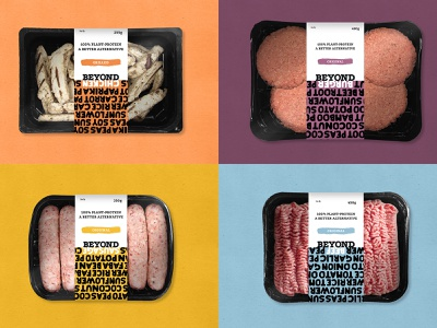 Beyond Meat packaging beyond chicken beyond sausage beyond beef beyond burger beyond meat food brand food packaging design packaging brand brand design rebrand typography flat university student logo graphic design design branding