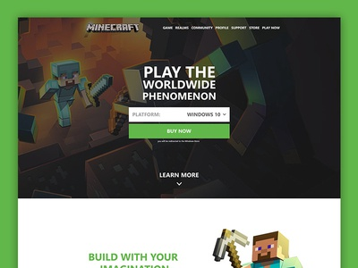 Minecraft Landing Page web design landing page website concept simple landing gaming games minecraft