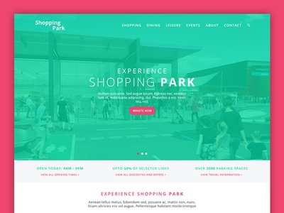 Shopping Park Website shopping centre mall shopping web design modern clean ui ux website