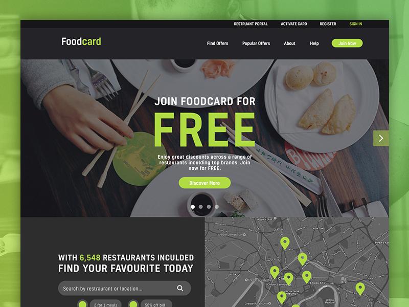 Foodcard Website digital design web design dark green reward ui food