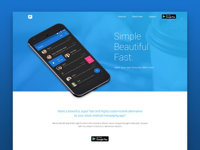 Textra Homepage white space landing page web design clean app blue textra ui ux
