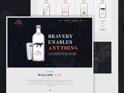 Willow Gin web design dark orange alcohol gin ux ui