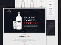 Willow Gin web design dark orange alcohol gin ux ui