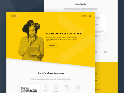 Workforce Landing Page white space digital design landing page web design cutout bold yellow ux ui