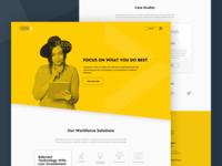 Workforce Landing Page white space digital design landing page web design cutout bold yellow ux ui
