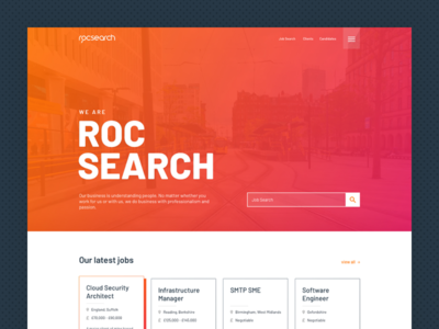 Roc Search recruitment re-design website ui ux web design